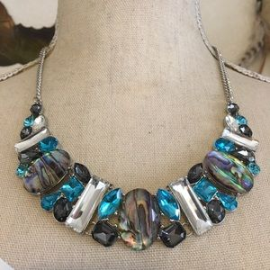 Faceted glass jeweled silver plated necklace